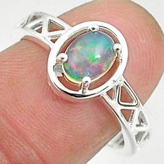 1.51cts solitaire natural multi color ethiopian opal silver ring size 7.5 t8894