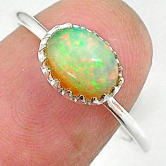 1.86cts solitaire natural multi color ethiopian opal silver ring size 8.5 t9000