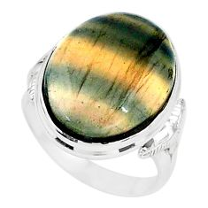 19.65cts solitaire natural multi color fluorite 925 silver ring size 8.5 t15412