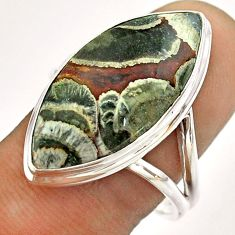 14.47cts solitaire natural mushroom rhyolite 925 silver ring size 10 t54491