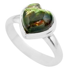 4.92cts solitaire natural ocean sea jasper heart 925 silver ring size 9 t29218