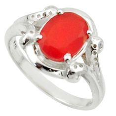 3.50cts solitaire natural orange cornelian (carnelian) silver ring size 7 r40694