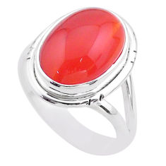 6.58cts solitaire natural orange cornelian (carnelian) silver ring size 7 t45949