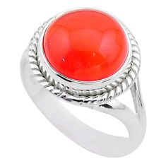 7.07cts solitaire natural orange cornelian (carnelian) silver ring size 8 t45945