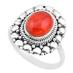 4.05cts solitaire natural orange cornelian 925 silver ring size 7.5 t20062