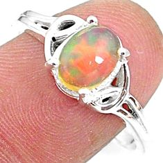 2.29cts solitaire natural orange ethiopian opal 925 silver ring size 9 t9085