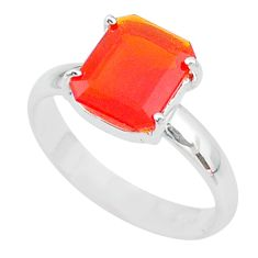 3.91cts solitaire natural orange mexican fire opal silver ring size 8.5 t10567
