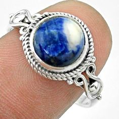 4.24cts solitaire natural orange sodalite 925 sterling silver ring size 8 t57451