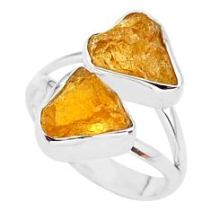 9.59cts solitaire natural orange tourmaline raw 925 silver ring size 7 t35102