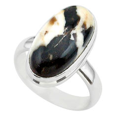 8.21cts solitaire natural peanut petrified wood fossil silver ring size 6 t39424