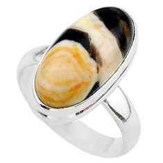8.60cts solitaire natural peanut petrified wood fossil silver ring size 7 t38949