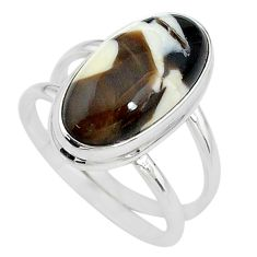 8.52cts solitaire natural peanut petrified wood fossil silver ring size 8 t10344