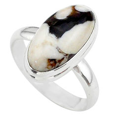 8.94cts solitaire natural peanut petrified wood fossil silver ring size 9 t38943