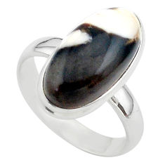 8.94cts solitaire natural peanut petrified wood fossil silver ring size 9 t39433