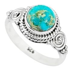 2.45cts solitaire natural persian turquoise pyrite 925 silver ring size 5 t9142