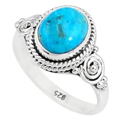 3.13cts solitaire natural persian turquoise pyrite 925 silver ring size 6 t9141