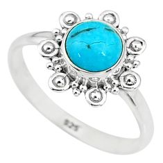 2.42cts solitaire natural persian turquoise pyrite 925 silver ring size 9 t9152