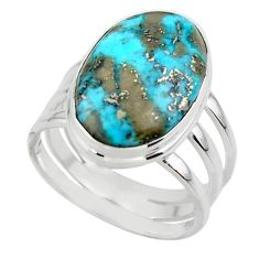10.02cts solitaire natural persian turquoise pyrite silver ring size 8.5 r49181