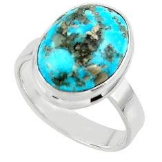7.35cts solitaire natural persian turquoise pyrite silver ring size 7.5 r49256