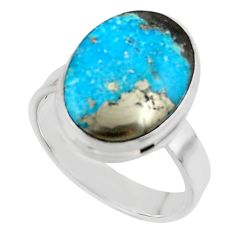 10.81cts solitaire natural persian turquoise pyrite silver ring size 8 r49247