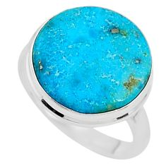 11.20cts solitaire natural persian turquoise pyrite silver ring size 8.5 t10446