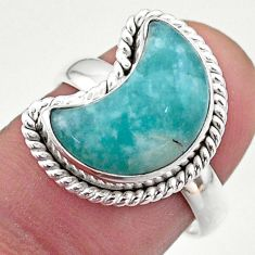 6.10cts solitaire natural peruvian amazonite 925 silver moon ring size 7 t47642