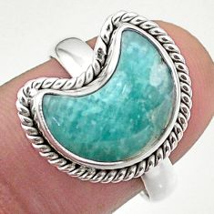 5.81cts solitaire natural peruvian amazonite 925 silver moon ring size 8 t47705