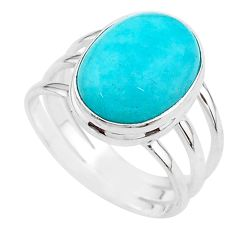10.37cts solitaire natural peruvian amazonite 925 silver ring size 10 t18046