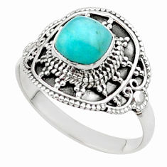 2.53cts solitaire natural peruvian amazonite 925 silver ring size 9.5 t27081
