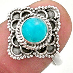 1.15cts solitaire natural peruvian amazonite 925 silver ring size 7.5 t27538