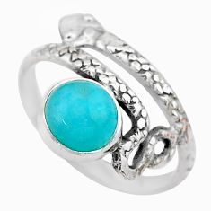 3.10cts solitaire natural peruvian amazonite 925 silver snake ring size 9 t31967