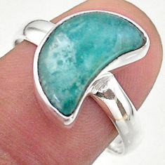 4.98cts solitaire natural peruvian amazonite silver moon ring size 8.5 t47741