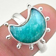 5.38cts solitaire natural peruvian amazonite silver moon ring size 7.5 t47810