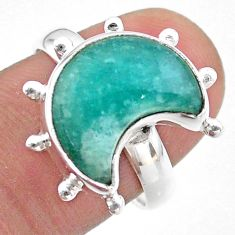5.30cts solitaire natural peruvian amazonite silver moon ring size 7.5 t47847