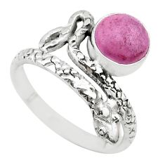 3.26cts solitaire natural phosphosiderite 925 silver snake ring size 8.5 t31991