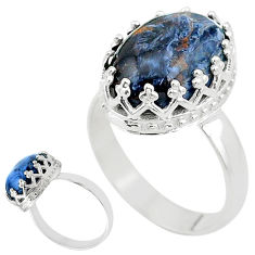5.17cts solitaire natural pietersite (african) 925 silver ring size 7 t20362