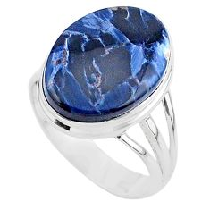 13.24cts solitaire natural pietersite (african) 925 silver ring size 9.5 t24780