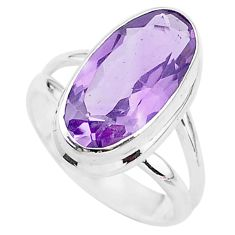 6.33cts solitaire natural pink amethyst 925 sterling silver ring size 6.5 t3353