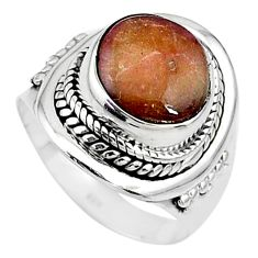 5.68cts solitaire natural pink bio tourmaline 925 silver ring size 7 t10478