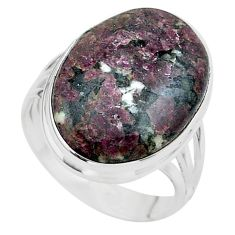 19.50cts solitaire natural pink eudialyte 925 silver ring size 11.5 t24610