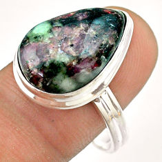 9.97cts solitaire natural pink eudialyte 925 sterling silver ring size 10 t54462