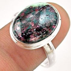 10.13cts solitaire natural pink eudialyte 925 sterling silver ring size 9 t54461