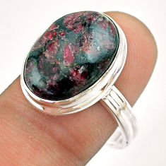 9.93cts solitaire natural pink eudialyte 925 sterling silver ring size 9 t54478