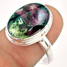 10.37cts solitaire natural pink eudialyte 925 sterling silver ring size 9 t54479