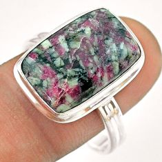 10.58cts solitaire natural pink eudialyte octagan 925 silver ring size 10 t54463
