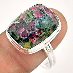 12.85cts solitaire natural pink eudialyte octagan 925 silver ring size 10 t54472