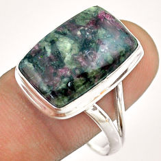 11.20cts solitaire natural pink eudialyte octagan 925 silver ring size 11 t54469