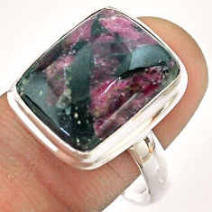 9.66cts solitaire natural pink eudialyte octagan 925 silver ring size 9.5 t54470