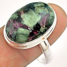 14.10cts solitaire natural pink eudialyte oval 925 silver ring size 11 t54474