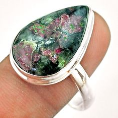 14.93cts solitaire natural pink eudialyte pear 925 silver ring size 11 t54477